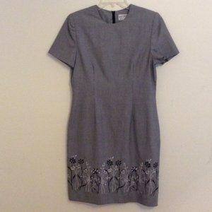 Kasper ASL black and white dress, embroidered hem